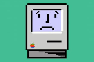Illustration of an old-school floppy Apple computer with a sad face on the screen