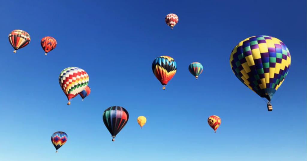 A colorful group of hot air balloons